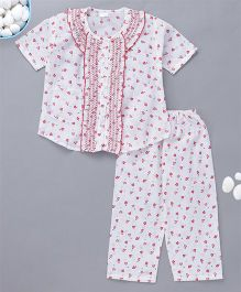 KID1 Little Hearts Print Night Suit - Red