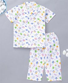 KID1 Little Monkey Print Night Suit - Blue
