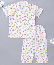 KID1 Little Monkey Print Night Suit - Red