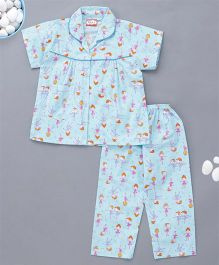 KID1 Ballerina Print Night Suit - Sky Blue