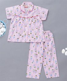 KID1 Ballerina Print Night Suit - Pink