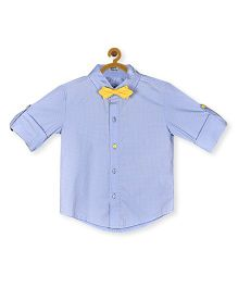 A Little Fable Full Sleeves Shirt With Bow Printed - Blue