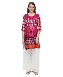 Morph Three Fourth Sleeves Maternity Feeding Kurti - Bright Pink