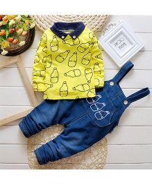 Teddy Guppies Full Sleeves Dungaree Set Milk Bottle Design - Blue Yellow