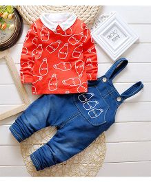 Teddy Guppies Full Sleeves Dungaree Set Milk Bottle Design - Blue Red
