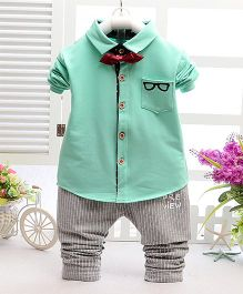 Teddy Guppies Short Sleeves Shirt With Bow And Pants Set - Green Grey