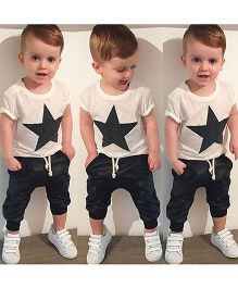 Teddy Guppies Half Sleeves Star Print T-Shirt And Mixed Leather Pants - White Black