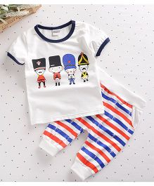 Teddy Guppies Half Sleeves Tee Soldiers Print And Stripes Pants - White Red Blue