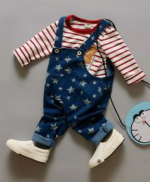 Teddy Guppies Full Sleeves Striped Tee & Dungaree Star Print - Blue & Red