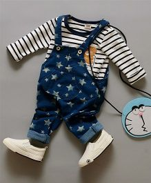 Teddy Guppies Full Sleeves Striped Tee & Dungaree Star Print - Blue & White