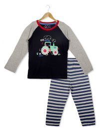 Lazy Shark Full Sleeves Night Suit Tractor & Stripes Print - Grey Black & Navy