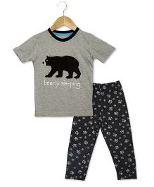 Lazy Shark Half Sleeves Night Suit Bear Print - Grey
