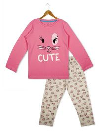 Lazy Shark Full Sleeves Night Suit Cute & Heart Print - Pink