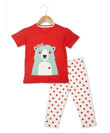 Lazy Shark Half Sleeves Night Suit Bear & Dots Print - Red