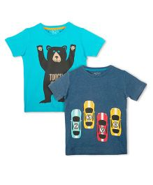 Lazy Shark Short Sleeves Tee With Print Pack Of 2 - Blue