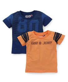 Gini  & Jony Half Sleeves Tee Pack Of 2 - Orange & Blue
