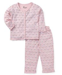 GJ Baby Full Sleeves All Over Print Night Suit - Light Pink