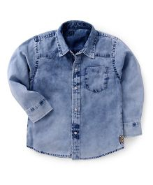 GJ Baby Stone Washed Full Sleeves Solid Shirt - Blue