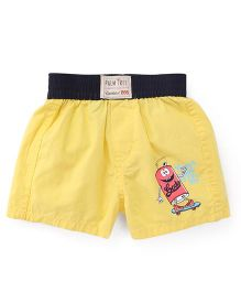 Palm Tree Elasticated Shorts - Yellow