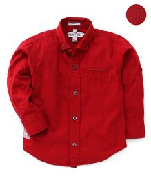 Palm Tree Full Sleeves Solid Shirt - Red