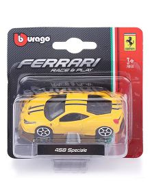 Bburago Ferrari 458 Speciale Race And Play Car - Yellow