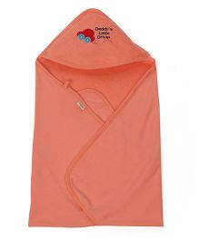 Babyhug Hooded Terry Cotton Towel Car Patch - Peach