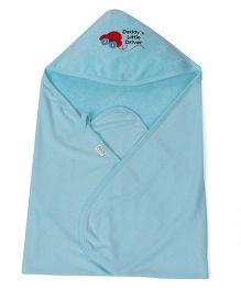 Babyhug Hooded Terry Cotton Towel Car Patch - Sky Blue