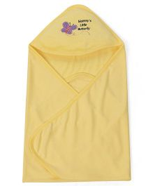 Babyhug Hooded Terry Cotton Towel Butterfly Patch - Yellow