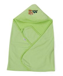 Babyhug Hooded Terry Cotton Towel Teddy Patch - Green