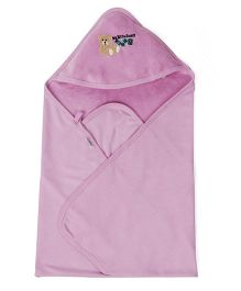 Babyhug Hooded Terry Cotton Towel Teddy Patch - Purple