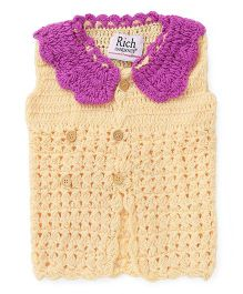 Rich Handknits Sleeveless Front Open Woolen Dress  - Yellow & Purple