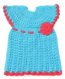 Rich Handknits Cap Sleeves Woolen Dress With Crochet Floral Patch - Blue Red