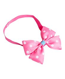 Keira's Pretties Polka Dot Headband With Elegant Bow - Pink