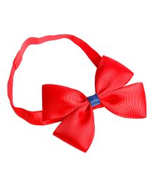 Keira's Pretties Solid Headband With Elegant Bow - Red