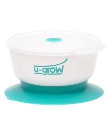 U-grow Baby Feeding  Bowl With Suction Base - White Green