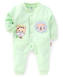 Child World Full Sleeves Winter Wear Romper Giraffe & Lion Patch - Green