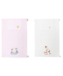 Baby Rap Giraffes With Duck Theme Crib Sheet With Pillow Cover Set Of 2 - Pink White