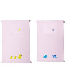 Baby Rap Dinosaurs N Ducks Theme Crib Sheet With Pillow Cover Set Of 2 - Pink