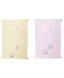 Baby Rap Elephants with Princess Tiara Theme Crib Sheet With Pillow Cover Set Of 2 - Yellow Pink