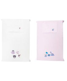 Baby Rap Dinosaurs N Cows 4 Theme Crib Sheet With Pillow Cover Set Of 2 - White Pink