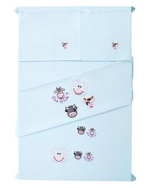 Baby Rap The Cow Family Theme Crib Sheet With Pillow Cover Set Of 2 - Blue