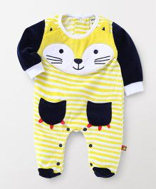 Wow Clothes Full Sleeves Stripe Footed Romper Animal Design -Yellow White Navy