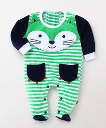 Wow Clothes Full Sleeves Stripe Footed Romper Animal Design - Green White Navy