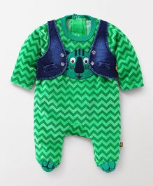 Wow Clothes Full Sleeves Chevron Footed Romper With Jacket - Green Blue