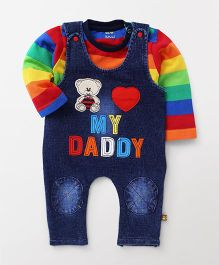 Wow Clothes Denim Dungaree With T-Shirt Bear Patch - Blue Multicolour
