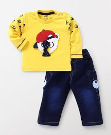 Wow Clothes Doctor Sleeves T-Shirt And Pull On Jeans  Bear Patch - Yellow Blue