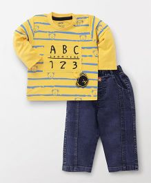 Wow Clothes Doctor Sleeves Stripe T-Shirt And Pull On Jeans - Yellow Dark Blue