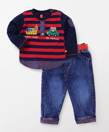 Wow Clothes Full Sleeves Stripe T-Shirt And Jeans With Belt Bear Patch - Red Navy