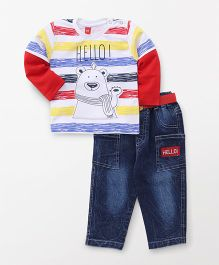 Wow Clothes Doctor Sleeves T-Shirt And Jeans With Belt - White Blue Red