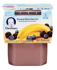 Gerber Banana Mixed Berries 2nd Foods Pack Of 2 - 113 gm (each)